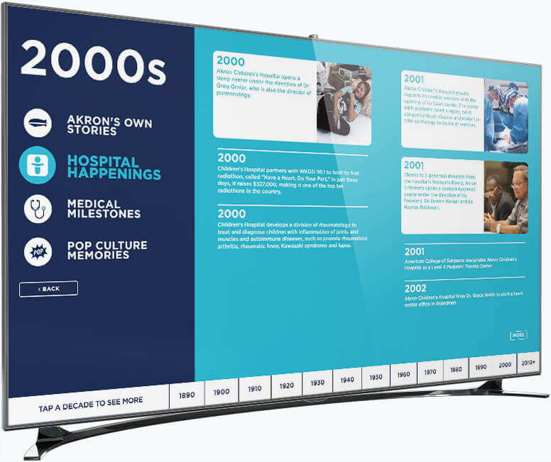 A screenshot demonstrating the category layout for the Akron Children's Hospital timeline project