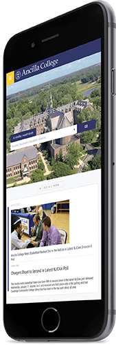 A mobile phone displaying the homepage of Ancilla College