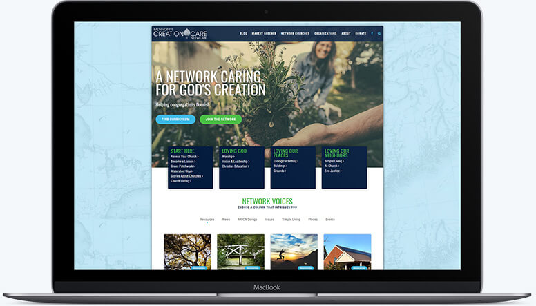 A laptop showing the ease of navigation on the Mennonite Creation Care Network homepage