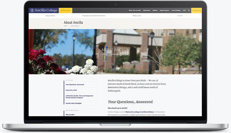 A laptop showing the standard subpage layout for Ancilla College