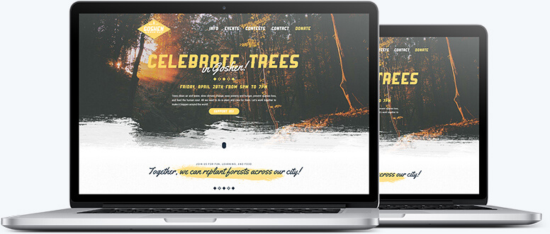 Two laptops showing the hero section of the Trees for Goshen website