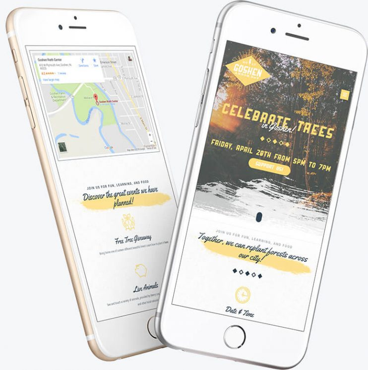 Two phones showing the responsive layout for the Trees for Goshen website