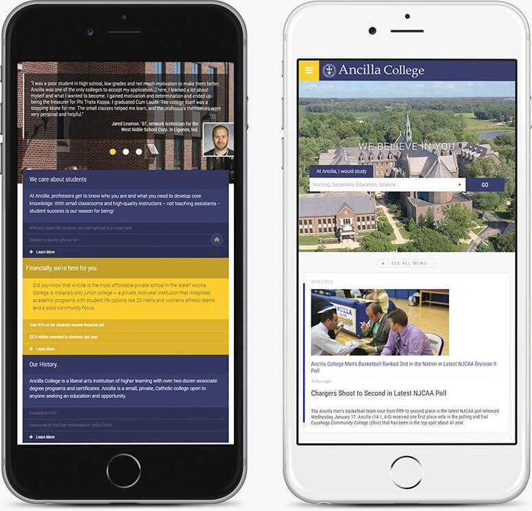 Two mobile phones demonstrating alternate layouts for the Ancilla College homepage
