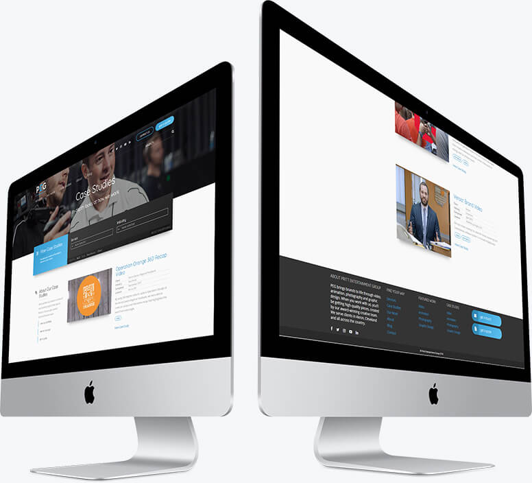 Two desktop computers demonstrating the layout of the case study listing page on Pritt Entertainment Group's website
