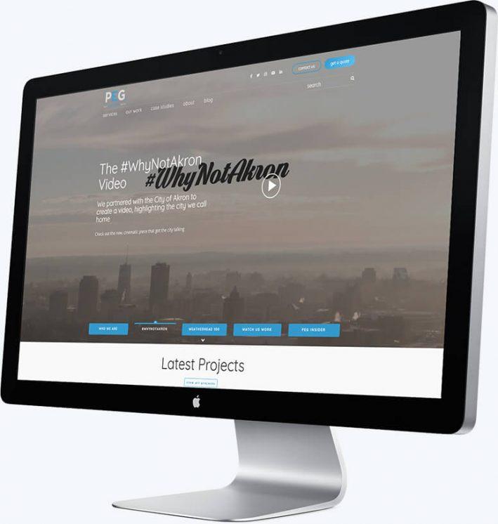 A desktop computer showing Pritt Entertainment Group's homepage slider
